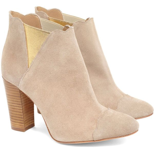 Cleo B Puff Boot Nude found on Polyvore featuring polyvore, women's fashion, shoes, boots, ankle booties, booties, heels, ankle boots, suede ankle booties and suede booties