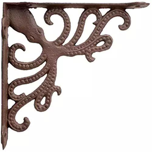 """Nautical Shelf Bracket Octopus Rust Brown Cast Iron Brace 7.75"""" Deep"""