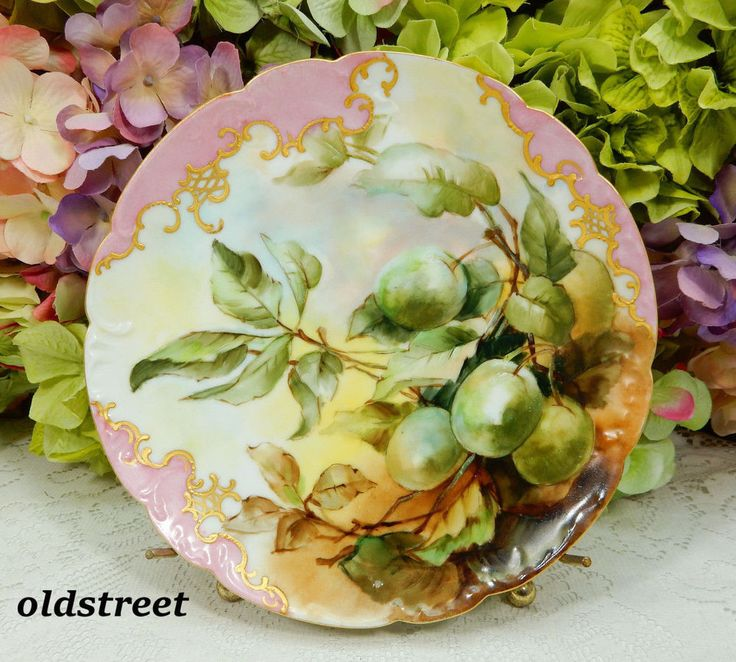Beautiful Haviland Limoges Porcelain Plate ~ Hand Painted Fruit ~ Gold Gilt #HavilandLimoges