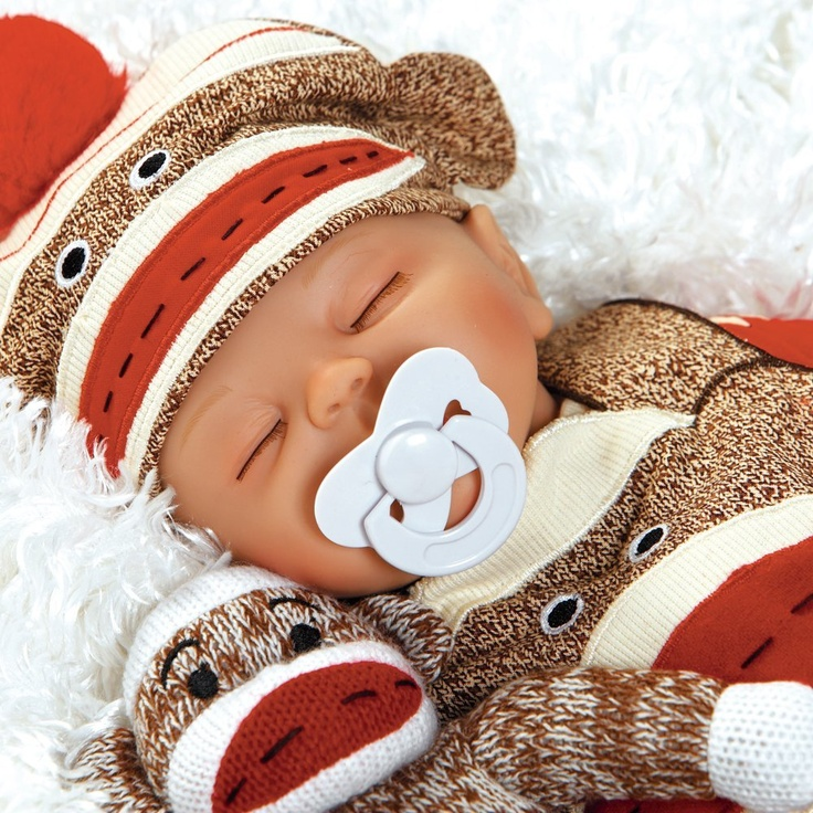 "Baby Doll That Looks Real, Sock Monkey Business 16"" Weighted Body Artist: Angela Anderson $74.50"