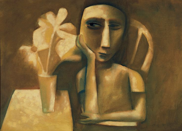 Charles Blackman, Girl with Flowers 1956, oil on paper on composition board, 99.5 x 136.5 cm, Heide Museum of Modern Art, Melbourne, Bequest of John and Sunday Reed 1982, © Charles Blackman