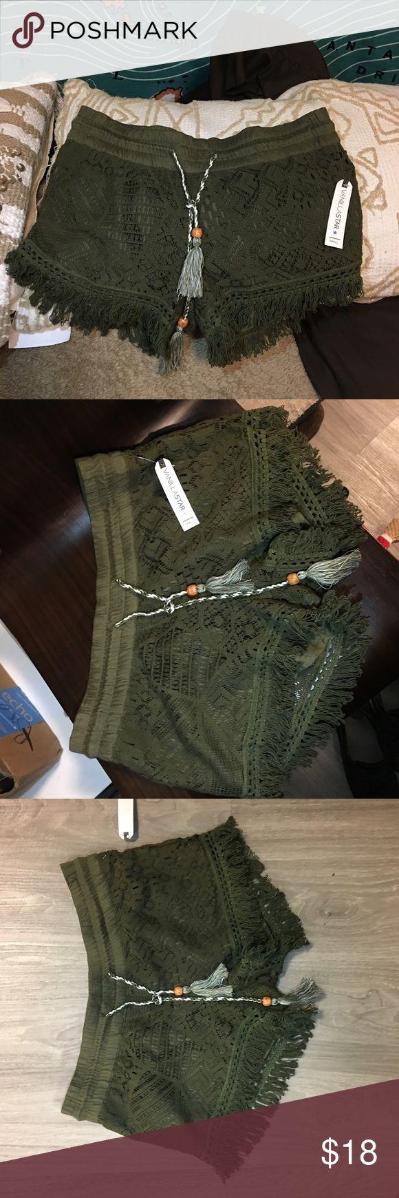 Army Green Boho Shorts Cute boho army green shorts. Size small never been worn Shorts