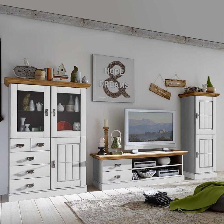 TV Anbauwand In Weiss Holz Kiefer Massiv 3 Teilig Jetzt Bestellen Unter Moebelladendirektde Wohnzimmer Schraenke Wohnwaende Uid25ee750a 5415