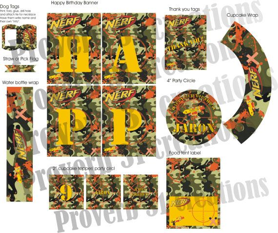 SALE Nerf Wars Party Camo Party Kit by Proverb31Creation on Etsy, $30.00
