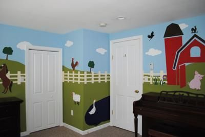 Pig Barnyard Farm Theme Nursery Wall Mural: Our barnyard baby nursery decor was inspired by the Nojo Farm Babies crib bedding set. I really like the green and brown nursery color scheme because it