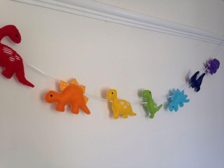 Felt rainbow dinosaur garland, banner for a kids / children's bedroom or nursery by PuddlesandMeme on Etsy https://www.etsy.com/uk/listing/243478897/felt-rainbow-dinosaur-garland-banner-for