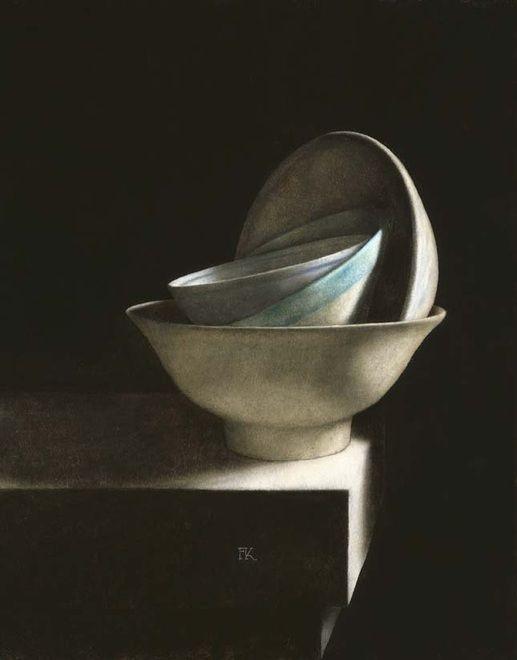 Frans Klerkx, Dutch painter (b.1952). 'Bowls on a Ledge'
