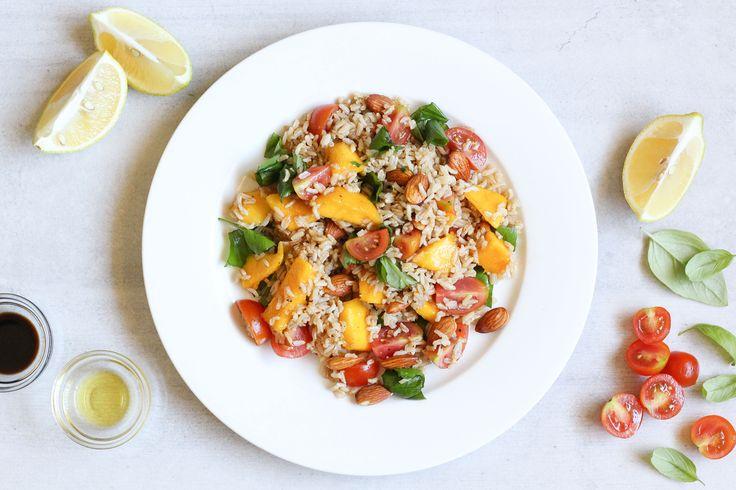 Mango, brown rice, tomato + basil salad | Liezl Jayne