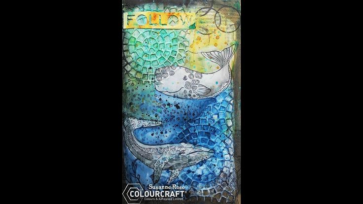 Art Journal Page with Brushos and Whales from Rubber Dance