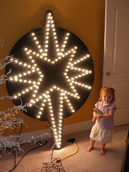 Bethlehem Star    This Tutorial will teach you how to make a Bethlehem Star Cutout. Materials you will need  8x4 piece of plywood  Jigsaw  Drill with 1' and 1 1/8 spade bits  Black Paint  7 Strings of C9 Lights (could use C7) - Equals 175 Lights  Computer Projector