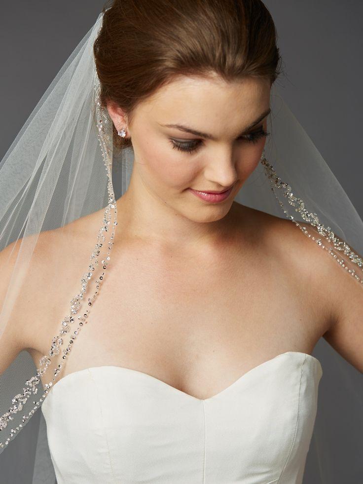 Glamorous Beaded Crystal Fingertip Length Wedding Veil - Affordable Elegance Bridal -