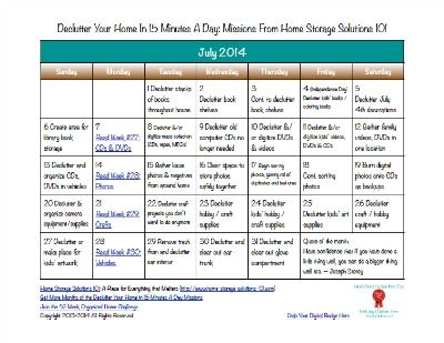 Free printable July 2014 decluttering calendar with daily 15 minute missions {on Home Storage Solutions 101}