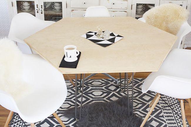 DIY: si no te gusta lo convencional hazte una mesa hexagonal en el comedor