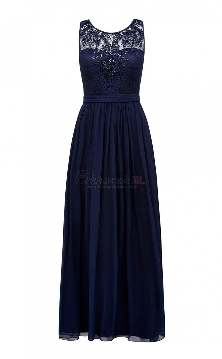 Long Chiffon and Lace Jewel Neck Blue Vintage Bridesmaid Dress BDS-CA391