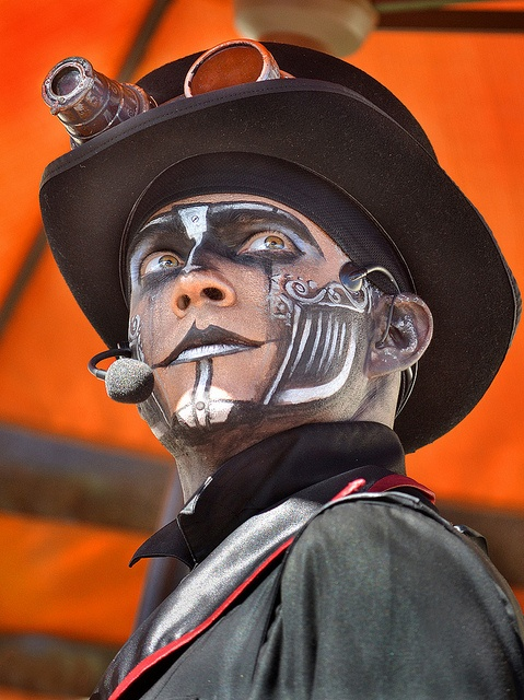 """""""Rabbit"""" from Steam Powered Giraffe, who performed every day at Nighttime Zoo."""