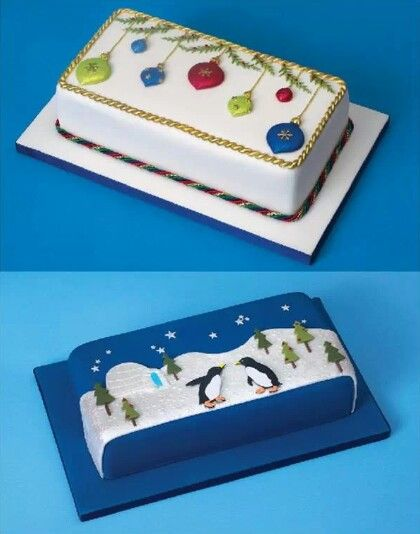 Rectangular Cake Decoration Ideas : Christmas rectangular cake design cake ideas Pinterest Christmas, Cakes and Design