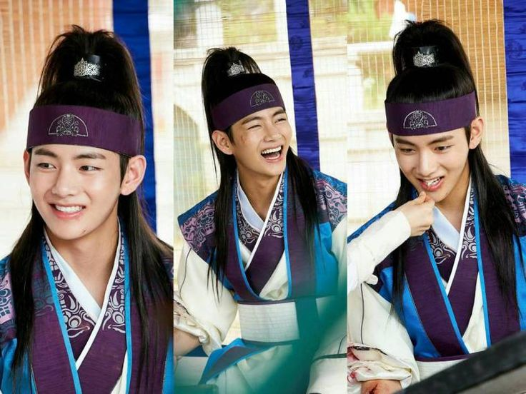 BTS V ....#Kim Taehyung....in Korean Drama....HWARANG... he looks damn cute.... traditional...look suits on him pretty well❤❤❤❤
