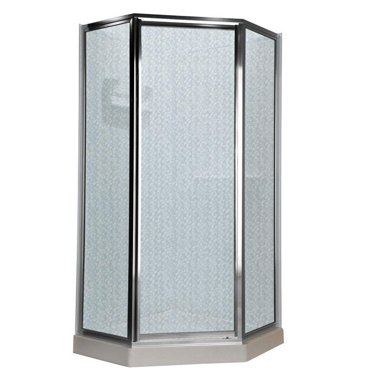 American Standard Prestige 18.4375 inch x 24.25 inch x 18.4375 inch x 68.5 inch Height Neo-Angle Shower Door in Silver and Hammered Glass 468715