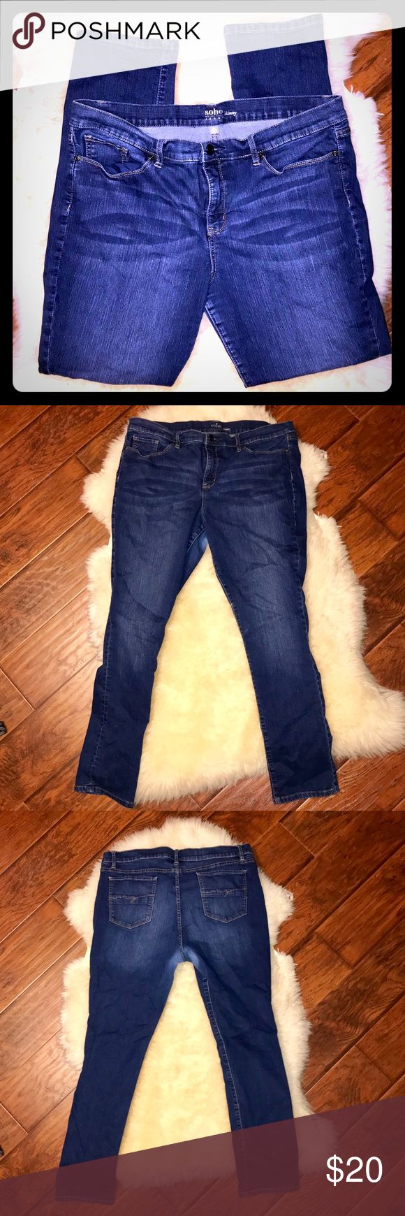 New York & Co SoHo Skinny Jeans New York & Co SoHo Skinny Jeans Size 20 Dark Wash blue. Some very light wear right between the thighs (shown in photos) no peeling just slightly lighter color. You can't see it when you have them on. New York & Company Jeans Skinny