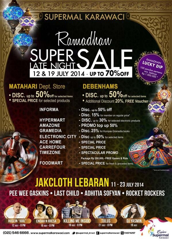 Supermal Karawaci: Promo Ramadhan Super Late Night, Discount up to 70% Off @supermal_krwci