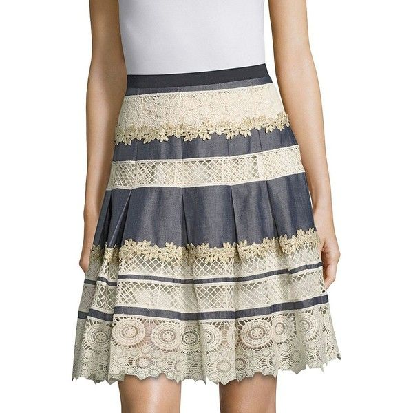 Elie Tahari Nicolette Lace Inset Pleated Skirt (4.695 UYU) ❤ liked on Polyvore featuring skirts, pleated skirt, long skirts, elie tahari, long pleated skirt and knee length pleated skirt