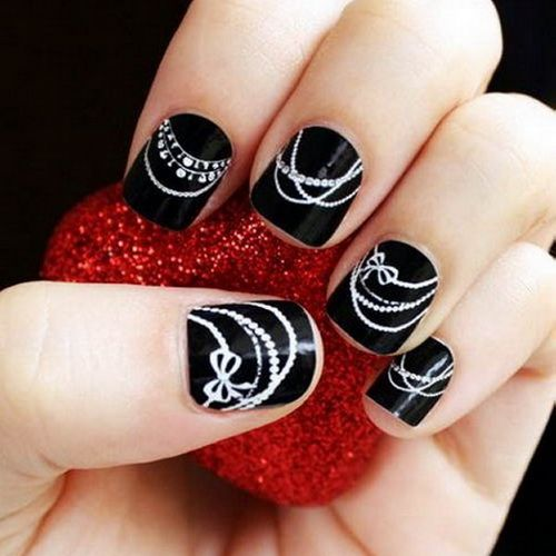 Black with White Pearl Nail Art