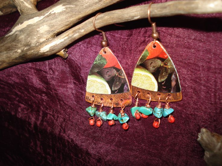 Handmade flamed and hammered copper earrings with recycled tin and beads