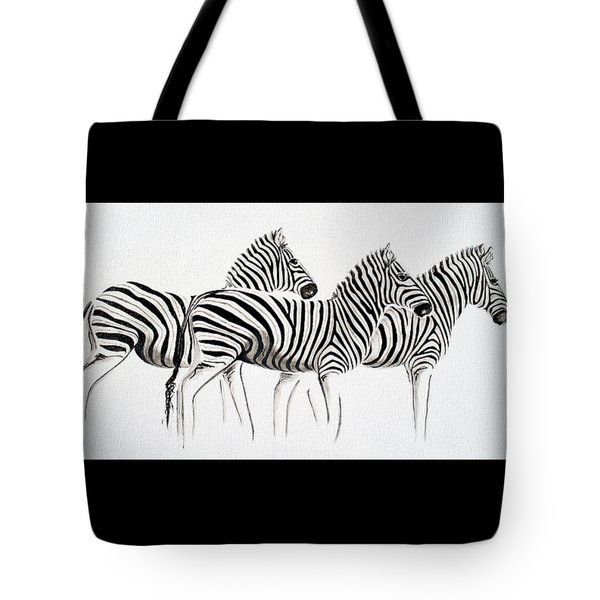 Tracey Armstrong Tote Bags - Zebras - Black and White Tote Bag by Tracey Armstrong