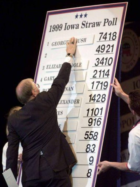 """The Iowa STRAW POLL is NO MORE > Cancelled! No straw poll in Iowa in August, Iowa GP Chairman Jeff Kaufmann said, """"the previous regime put us in a heck of a position"""" financially,"""" he said, referring to the crew of Ron Paul / Rand Paul backers who took control of party headquarters after the last caucuses. Recently at least 10 people with Iowa influence began a push to influence candidates to sign up for the poll. —"""
