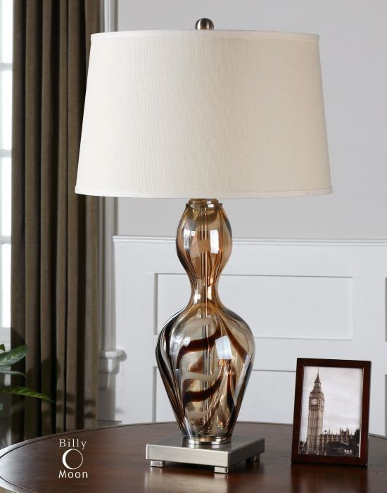 Uttermost traslucido lamp warm amber glass with dark bronze details brushed aluminum accents 30