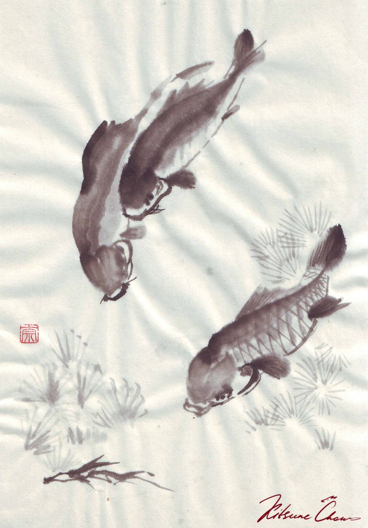 #сумиэ #японскаяживопись #графика #тушь #чернобелое #природа #япония #sumie #Japanesepaintings #ink #blackandwhite #nature #carp #карпы #рыбы #рыба #fish