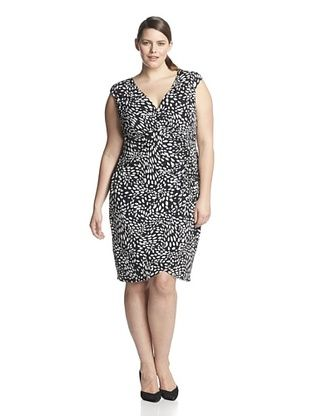 56% OFF London Times Plus Women's Side-Ruched Sheath Dress (Black/White)