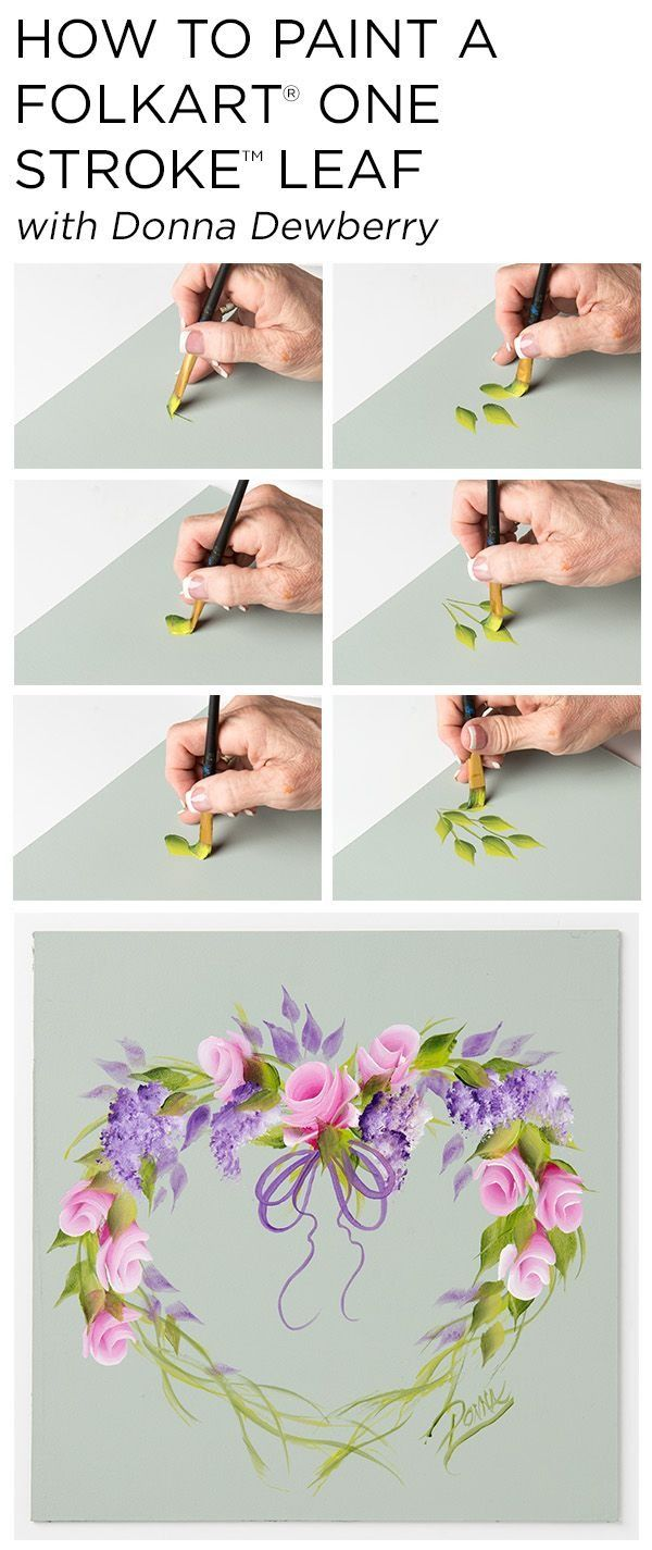 """Learn how to paint a beautiful rosebud wreath using a small palette of FolkArt Multi-surface acrylic paints and just a few brushes with Donna Dewberry's acclaimed """"One Stroke Painting"""" technique. Here, check out a step by step for one stroke leaves."""