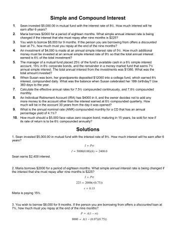 Simple and Compound Interest Worksheet Simple and Pound ...