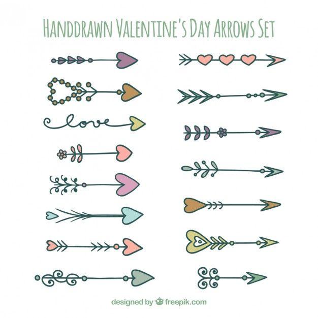 Hand drawn valentines arrows set Free Vector