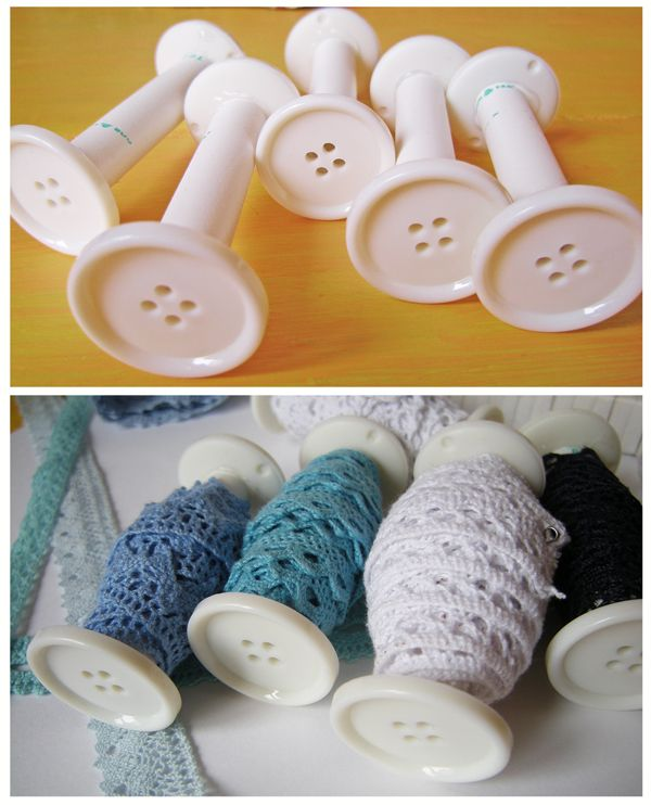 I think these are empty thread spools with a button glued onto the end?