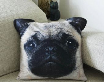 Pillow cover, Pug pillow case, cushion cover, Pug pillow cover, pet pillow case, dog pillow case, animal collective, Pug, gift, CU-110