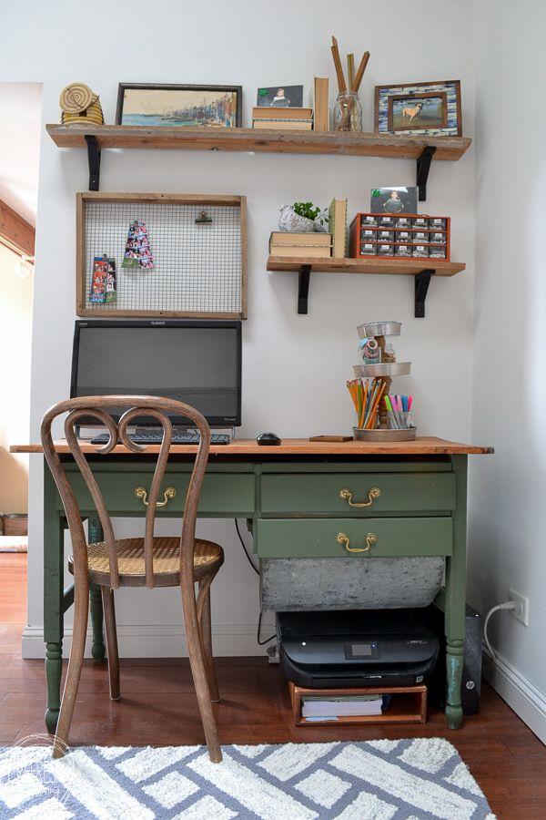 Green Desk From An Antique Baker S Cabinet Refresh Living