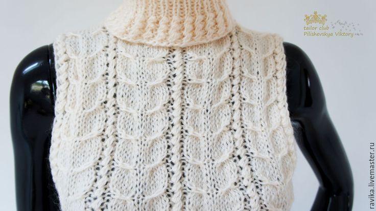 """Купить Жилет американка """"Колосья"""" шерстяной женский - кремовый, свитер, свитер вязаный, свитер женский"""