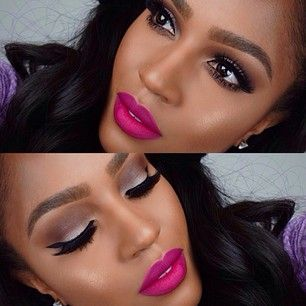 Pink lipstick for dark skin--Looks much 2 bright for my skin tone, but still a pretty color nonetheless.