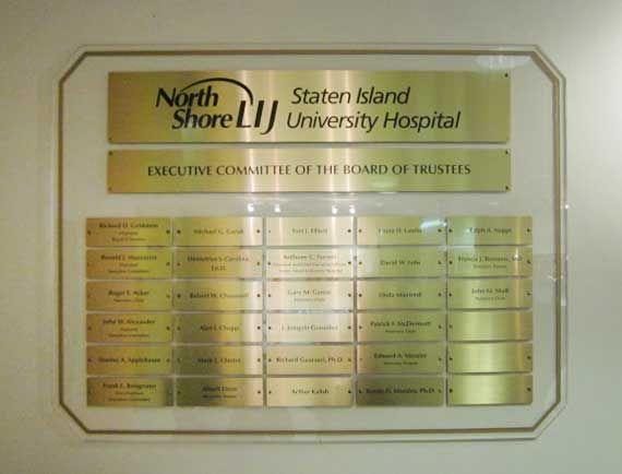 Plexiglas with brass plates - Staten Island University Hospital