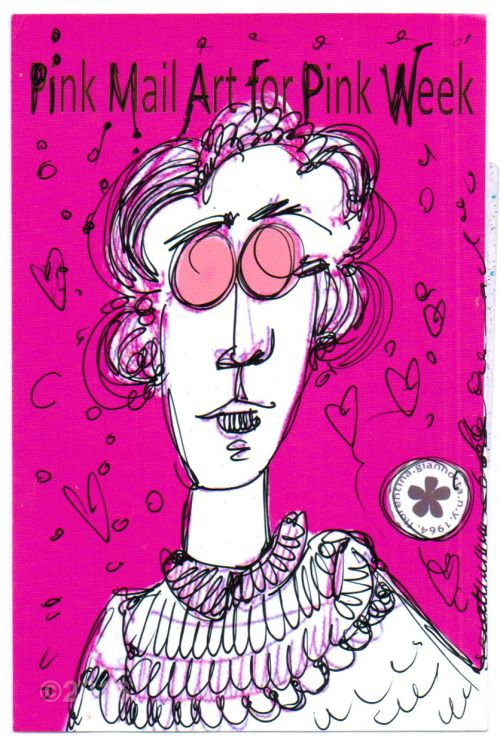 The Pink Mail Art show is finished, but yesterday I found one last piece waiting for me in my P.O. Box.  Fiorentina Ginannotta's piece took almost eight weeks to get to San Francisco form Italy!   Oh Poste Itaiane…….