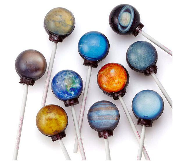 These planet lollipops that each have a yummy, unique flavor.