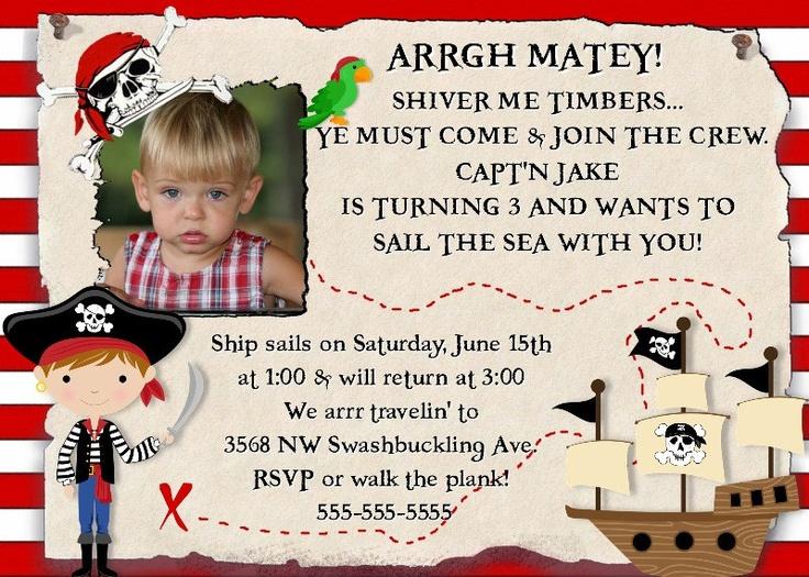 77 best party themes for kids birthdays images on pinterest pirate birthday invitation pirates party boy girl skull ship sail photo invite filmwisefo