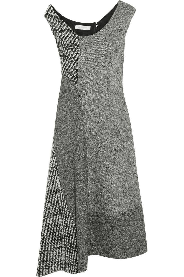 Stella McCartney|Jackie asymmetric paneled wool-tweed dress|NET-A-PORTER.COM