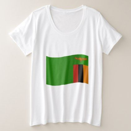 #Zambia Flag Plus Size T-Shirt - #country gifts style diy gift ideas