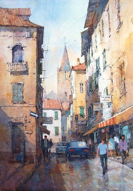 "Ian Ramsay:  Deep in the Old City, Rome. 19"" X 13""."