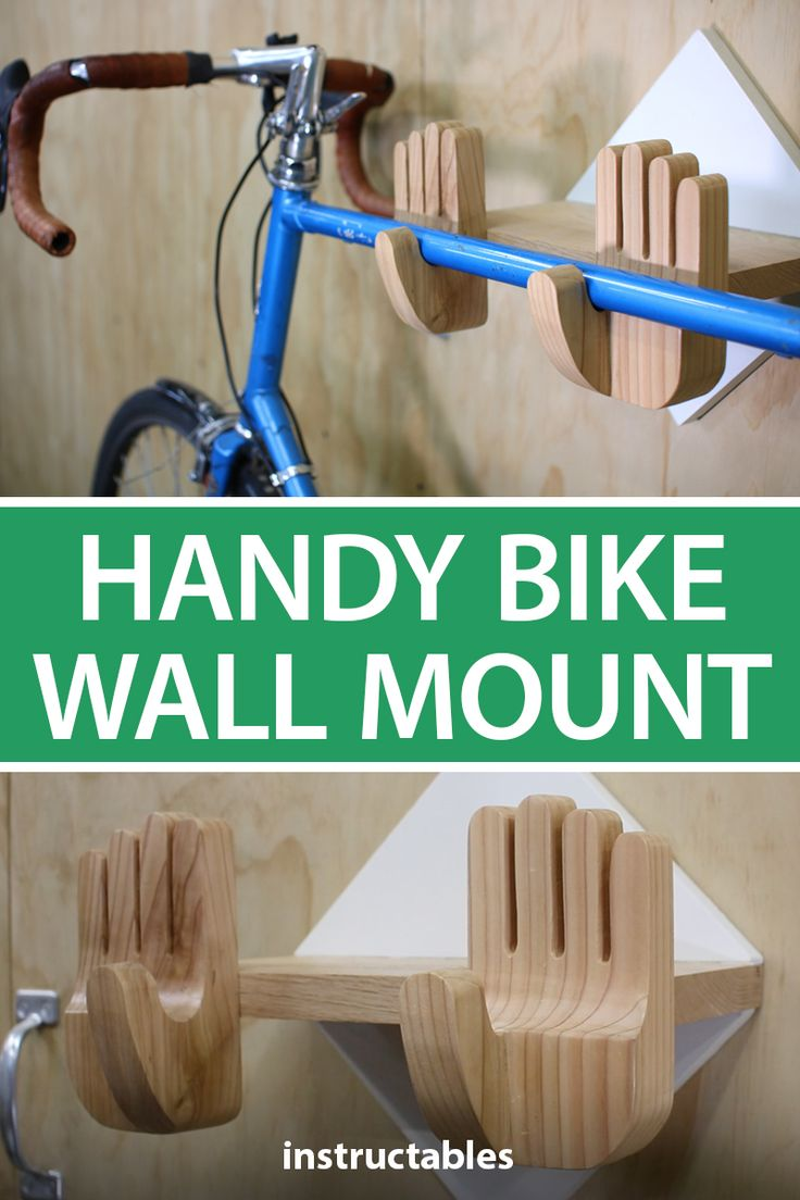 This simple wooden bike rack is shaped like two hands that will hold up your bike with thumbs.