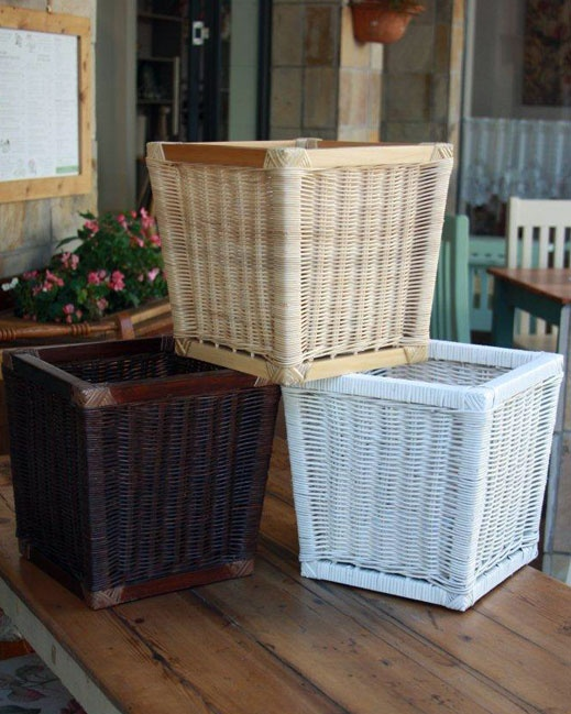 Waste paper bins. Colours available are white, natural, antique oak and mahogany Size is 30cm