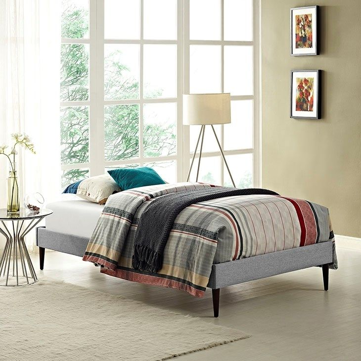 LexMod - Sherry Twin Fabric Bed Frame with Round Tapered Legs in Light Gray